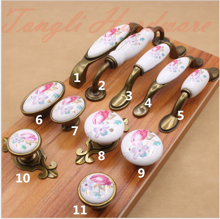 10 pcs/lot white vintage tulip flower ceramic door handle/pull for cabinet locker kitchen drawer elegant furniture knob handle(China (Mainland))