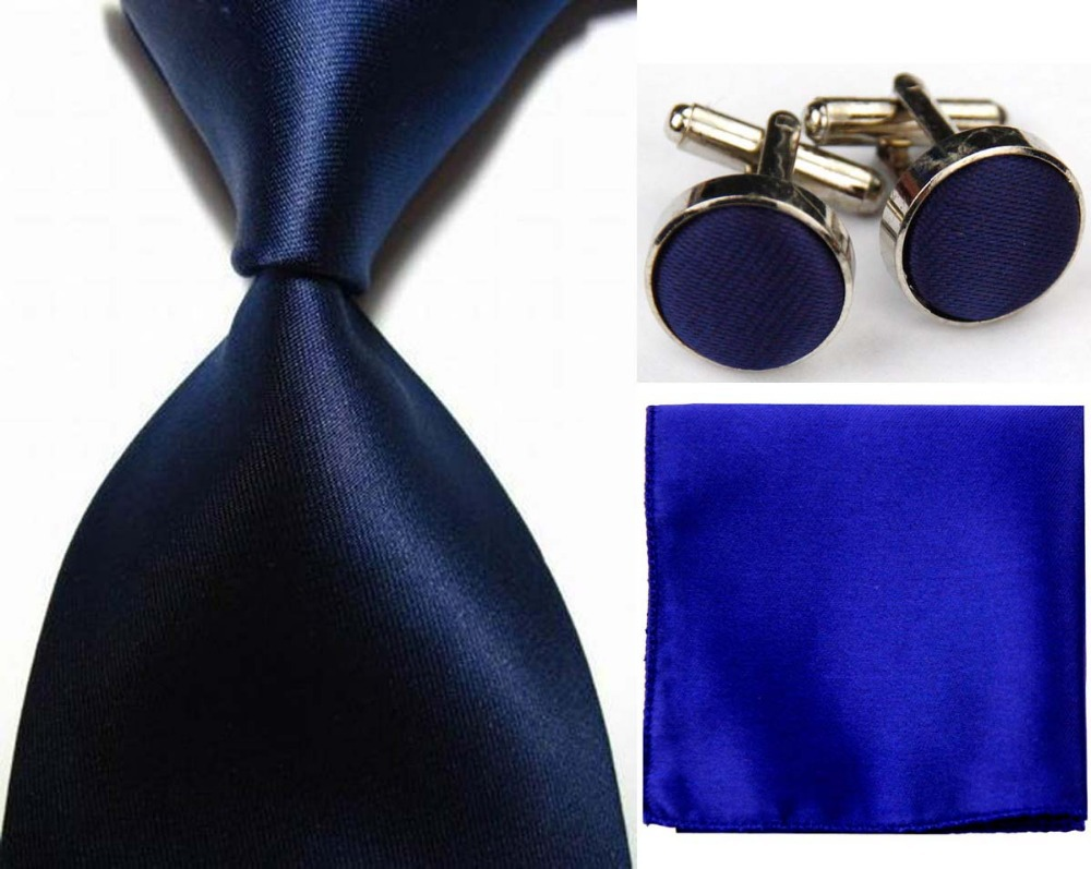 SNT0410 NEW Solid Plain Darl Blue Ties Hanky Handkerchief Cufflinks Ties Men s Business Casual Party