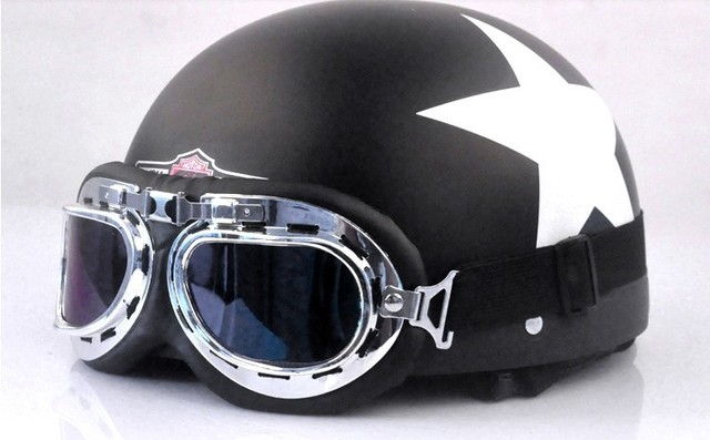 Free shipping  Tactical Pilot Motorcycle & Motorbike Safe Helmet Half-Helmet crash mask For Man & Woman Free Size with glasses