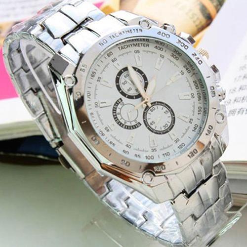 Luxury Fashion Men Stainless Steel Quartz Analog Hand Sport Wrist Watch Watches 097V - Topic store