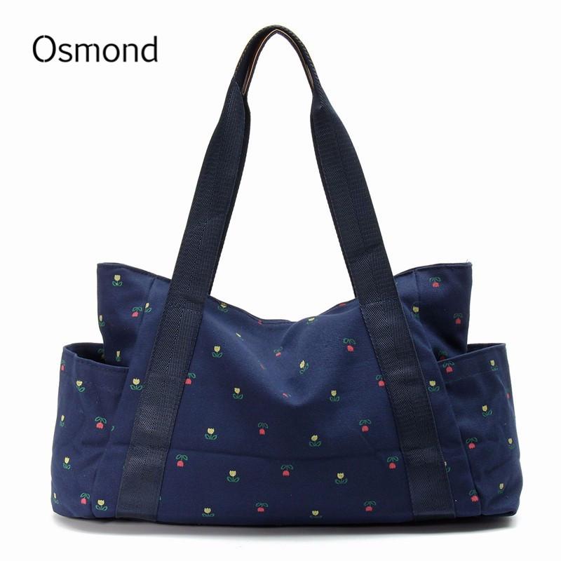 Osmond Women Bags Shoulder Bag Canvas Shoulder Handbags Women Bags Handbag Big Bag Ladies Travel Casual Totes Dot Flower 2017(China (Mainland))