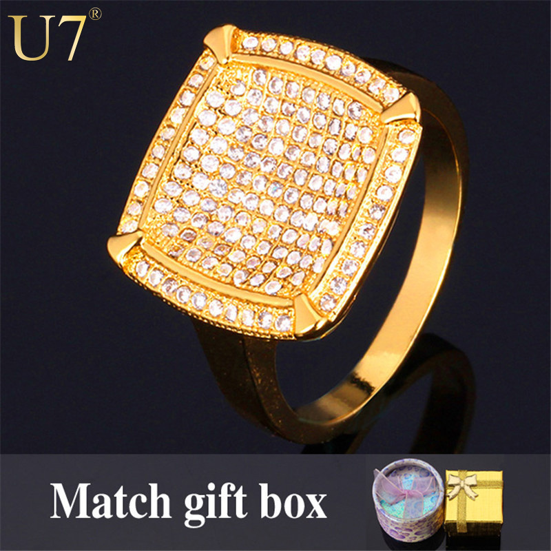 Luxury Zirconia Men Ring Trendy Quality 18K Real Gold Filled Pave Setting Mini Zircon Wedding Band Rings Men's Jewelry R321(China (Mainland))