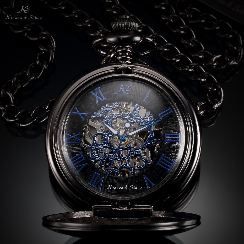 KS Brand Retro Blue Roman Skeleton Relogio De Bolso Men Hand Wind Mechanical Watch Necklace Clock
