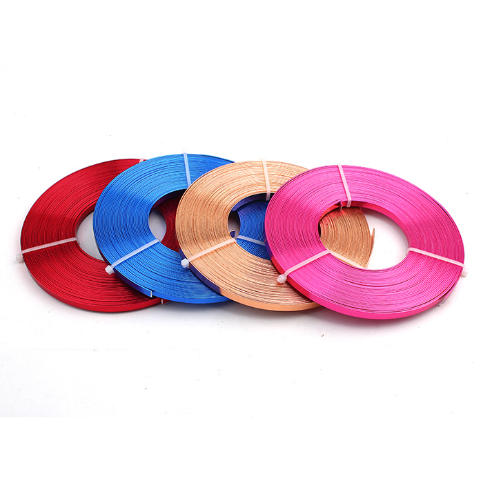 Flat Anodized Aluminum Wire, Green Red Black Silver Gold Blue Plated Soft 5mmx1mm, 10m/coil free shipping(China (Mainland))