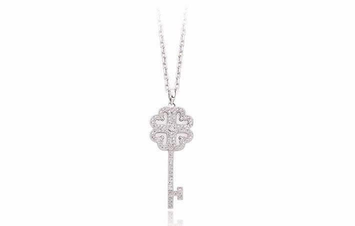 Luxury Dazzling AAA+ Swiss Cubic Zirconia Women's Key Pendant necklaces Fashion Bijoux Femme Teen Girls Gifts 2015 New Design 1