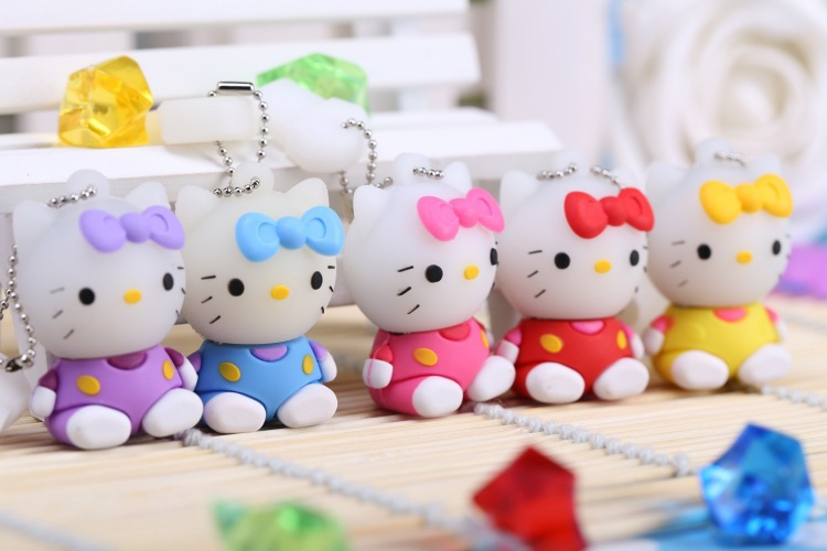 2016 New pendrive caroon hello kitty usb flash drive 4GB 8GB u disk 16GB 32GB usb flash hang decorations memory stick pen drive(China (Mainland))