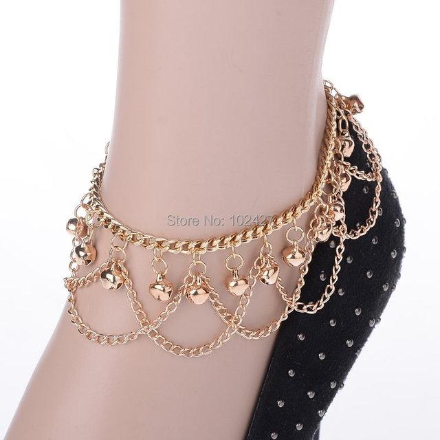 Мода колокол браслеты для золото кисточкой цепи лодыжке браслет босиком сандалии ...
