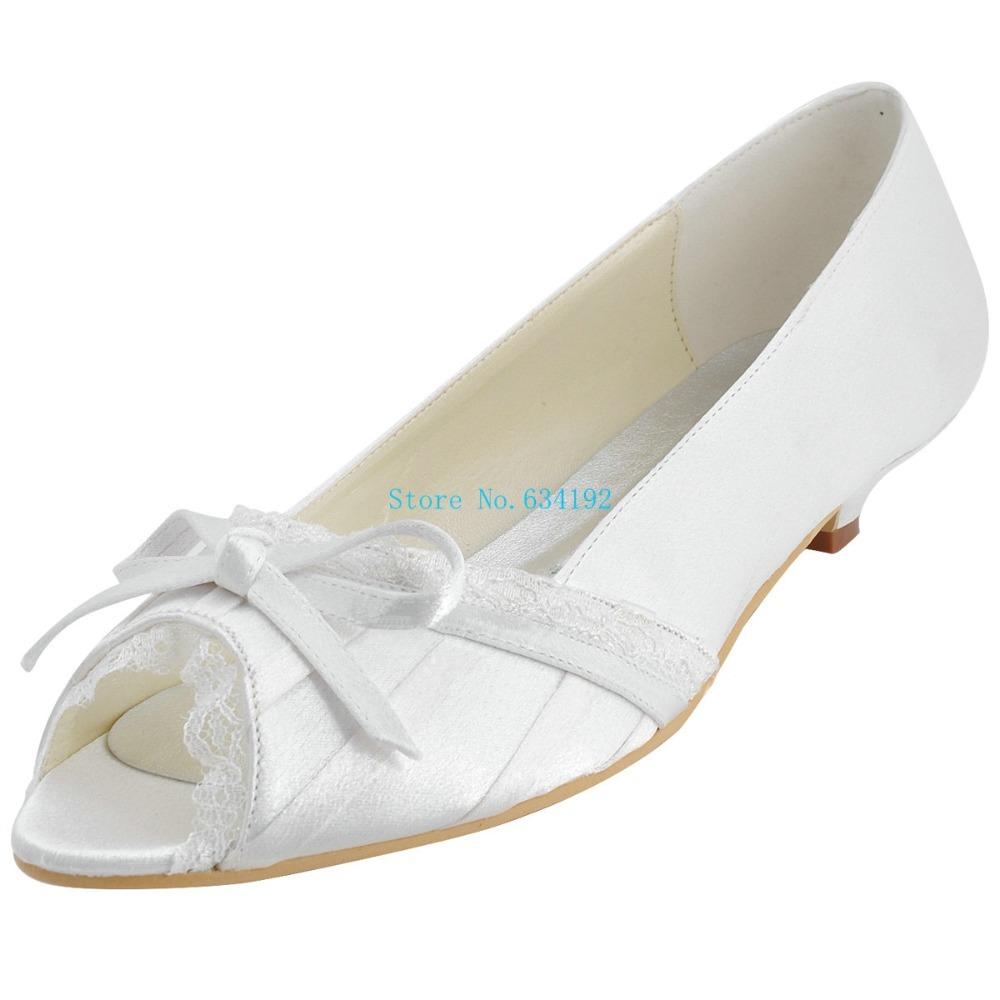 peep toe low heel white wedding shoes satin pumps