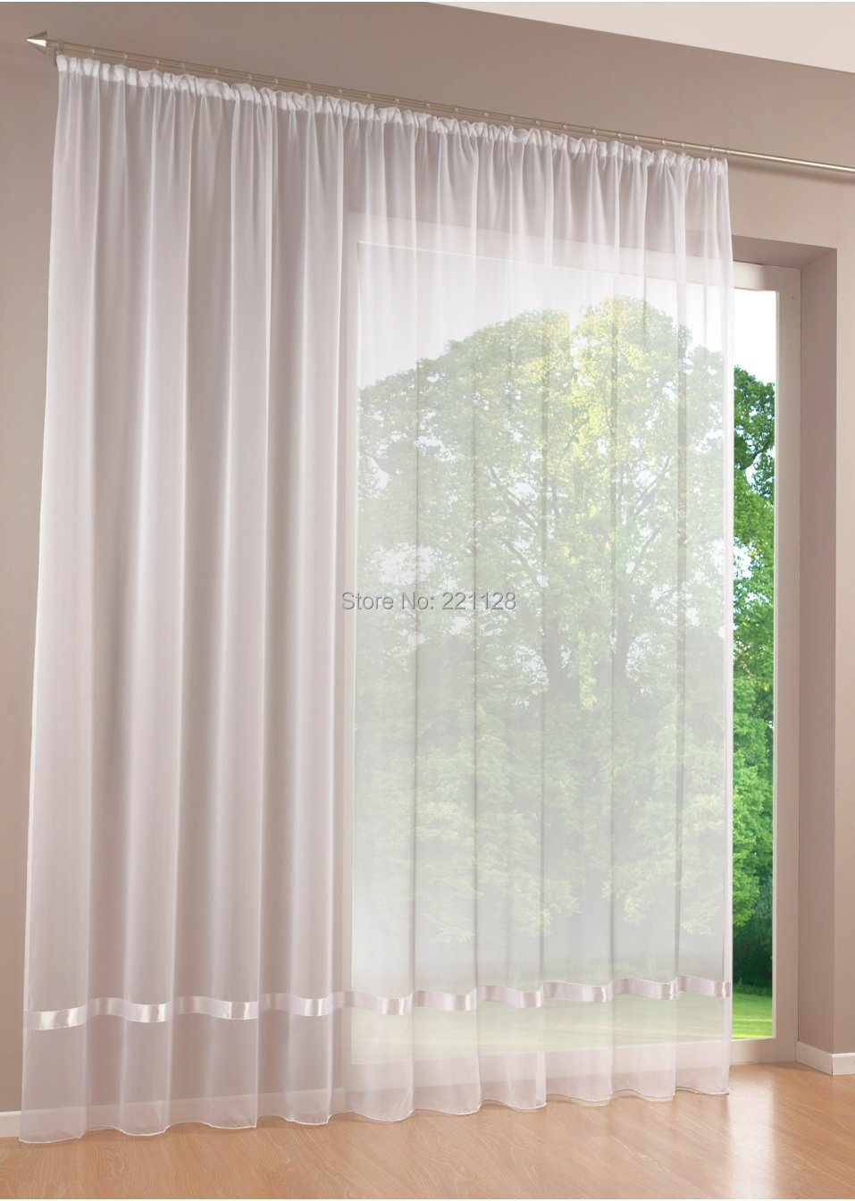 Price by Piece Quality white all-match window screens curtain,tulle sheer curtian,solid voile curtain with ribbon,free shipping(China (Mainland))