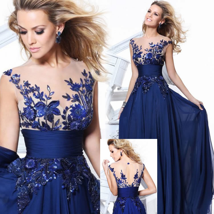 Shineye 2015 Fashion Floor Length Train V-Neck Chiffon Lace Backless Evening Dress Gown Formal Party/Prom Dresses Blue/Red/Black(China (Mainland))