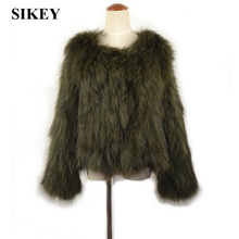 CR035-1 New real raccoon fur knitted coat women jacket winter olive green/ army green(China (Mainland))