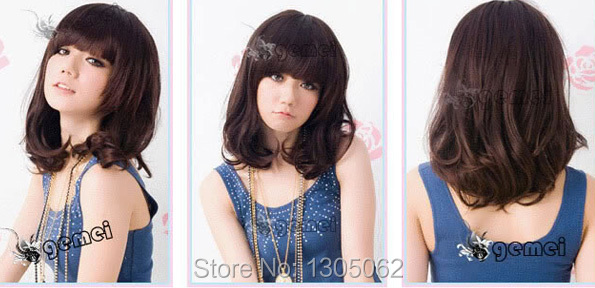 Middle length Korean style sweet new Fashion lady synthetic straight hair wigs on sale<br><br>Aliexpress