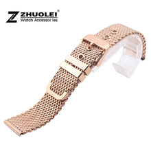 Watch band 22mm Rose Gold Stainless Steel Mesh Watch Band Strap Bracelets Strap Free Shipping