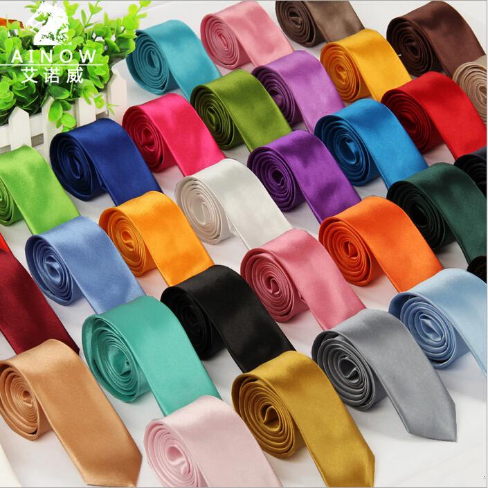 1 piece fashion brand tie leisure slim narrow ties for men solid head arrow gravata polyester silk corbatas neckties 40 colors(China (Mainland))