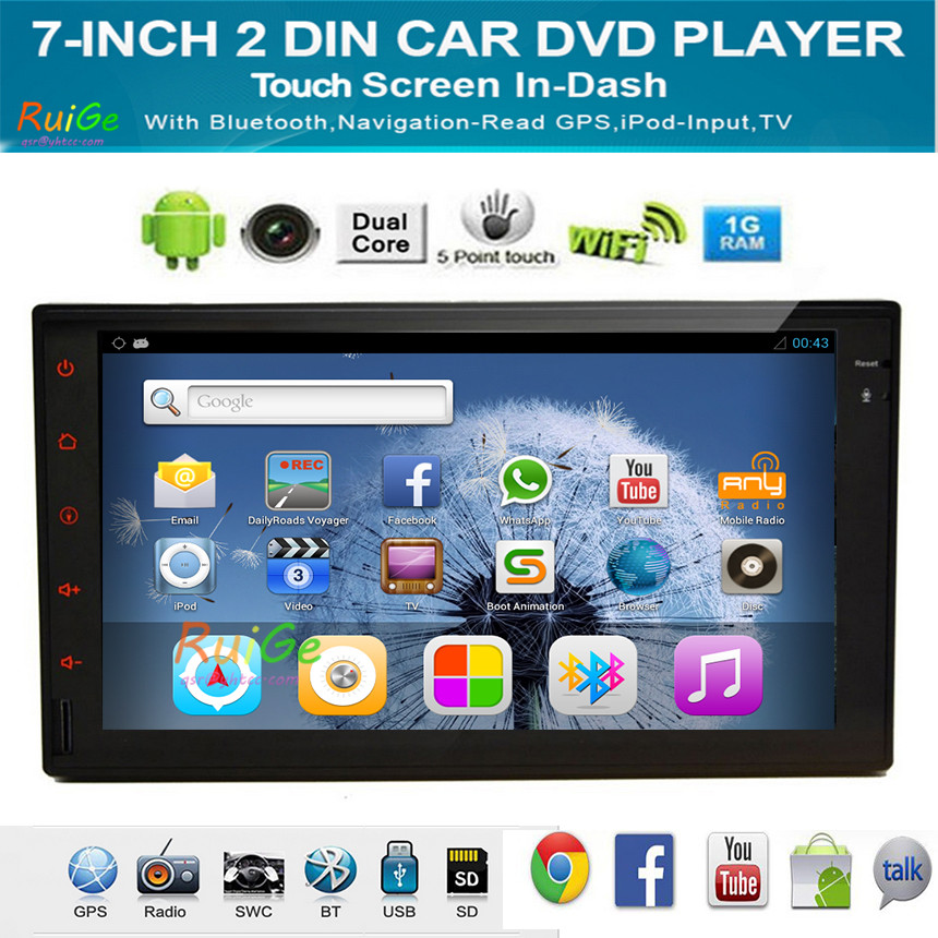 Android 4.2.2 HD 800*480 Double Two 2 Din Car Audio Stereo Autoradio Mirrrorlink 3G WIFI TPMS Flash 16GB()