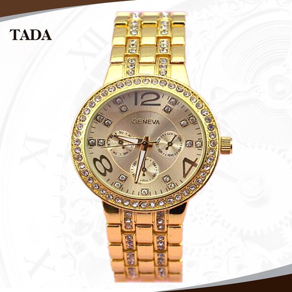 2013 European and American style newest fashion watches, Ladies Diamond flanger alloy geneva watch,freeshipping 10pcs/lot<br><br>Aliexpress