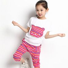 2016 New Girls Clothing Sets Kids Baby Girls Clothes Suit Children Short Sleeve Striped T-Shirt +Pants roupas infantil meninas(China (Mainland))