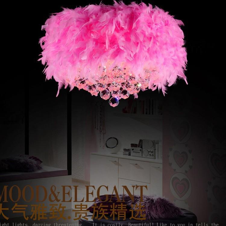 Купить Многоцветный перо подвесные светильники детская комната висит кристалла подвесной спальня малыша свадьба светильник