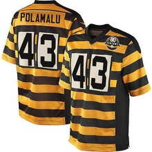 Men's #43 Troy Polamalu Elite YellowBlack Alternate 80TH Anniversary Throwback Football Jersey 100% Stitched(China (Mainland))