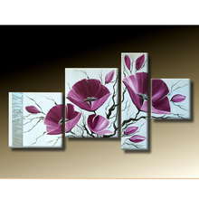 Modern Lotus Wall Art Flower Splice Hand-painted Painting Oil Canvas Home Tasteful Wall Decor Paint DIY free shipping(China (Mainland))