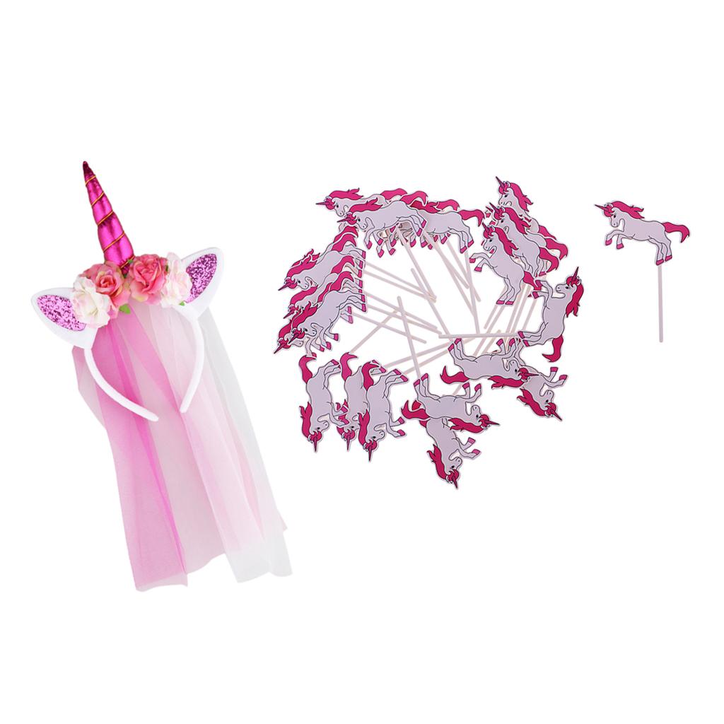 Розовое волшебное Бандана с единорогом для девочек цветочной сеткой грива Girls Rose Pink Magical Unicorn Horn Headband with Floral Mesh Mane Unicorn Cupcake Picks Party Fancy Dress