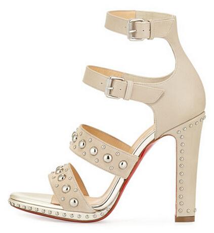 Здесь можно купить  2015 New Roman Style Rivet Cowhide Leather Trim Design Thin Root High Heels Sandals Instep Buckle Boots Combinations Shoes Woman  Обувь