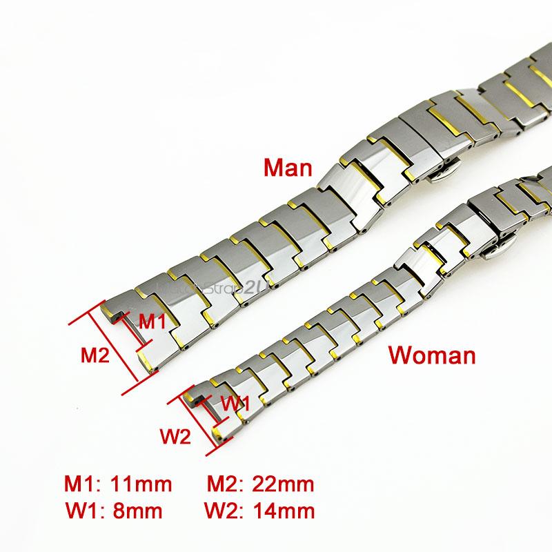 22 mm/14mm Gold/ Black/ Rose Gold/ Hematite Tungsten Steel Watch Band Bracelet Strap Push Button Deployant Clasp Notch End(China (Mainland))