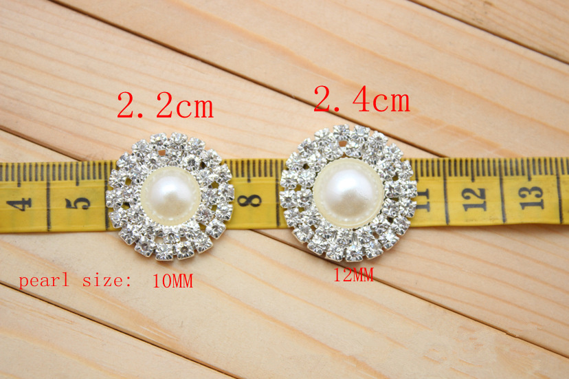 20pcs/lot 24mm Double Row Rhinestone Pearl Button Flat Back Wedding Bling Bridal Emellishment Used On Invitation Card Silver(China (Mainland))