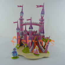 New 3d Puzzle Educational toy DIY toy Kids 3D Paper Jigsaw Puzzle cartoon pink fortress free shipping(China (Mainland))