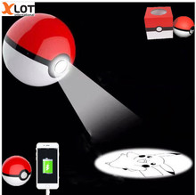 Pokeball Generation 3 pokeball Power Bank Charger 12000mah Pokemons Go Game projection Pikachus with package