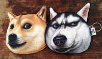 Free shipping 2015 new cute dog zipper purses Doge/Husky coin purse Kabosu gift for friend