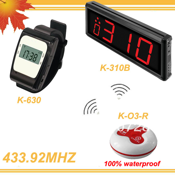 433.92MHZ 1 set Tea house Wireless Call Calling Waiter Server Paging Service System K-310B-630-O3 DHL free shipping free(China (Mainland))