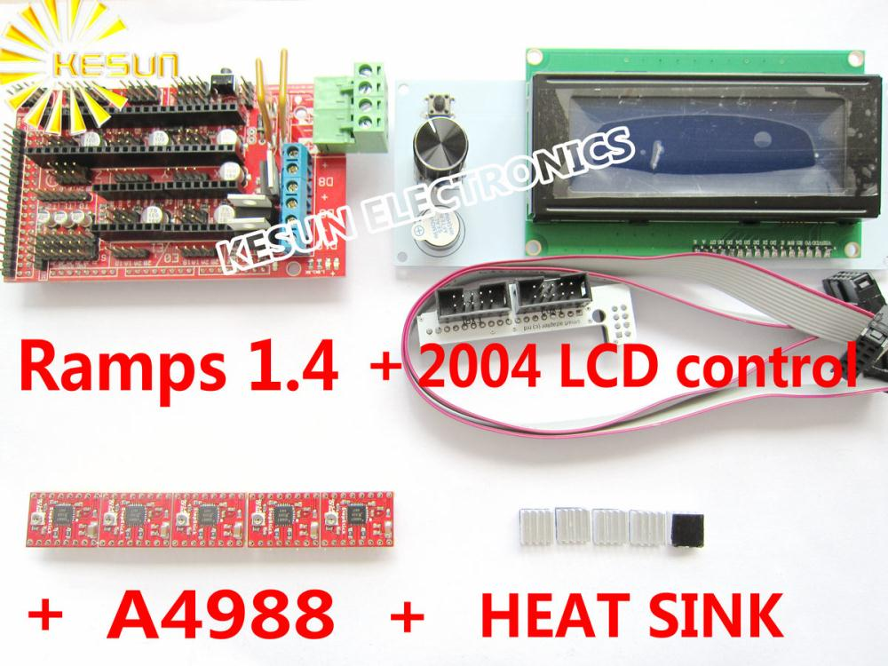 Free shipping 2004 LCD + RAMPS 1.4 Controller + A4988 Stepper Driver Module + Heat Sink for 3D Printer kit Reprap MendelPrusa(China (Mainland))