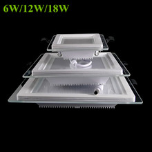 6W 12W 18W Dimmable LED panel light square glass led downlights ceiling recessed lights Episar SMD5730 chip lamps AC85-265V(China (Mainland))