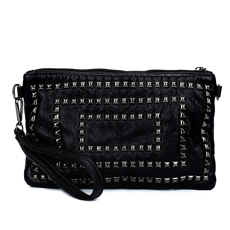 Fashion Rivet Small PU Leather Women Messenger Shoulder Bags Different Shape Black Bag Ladies Purse and Handbags Bolso Mujer(China (Mainland))