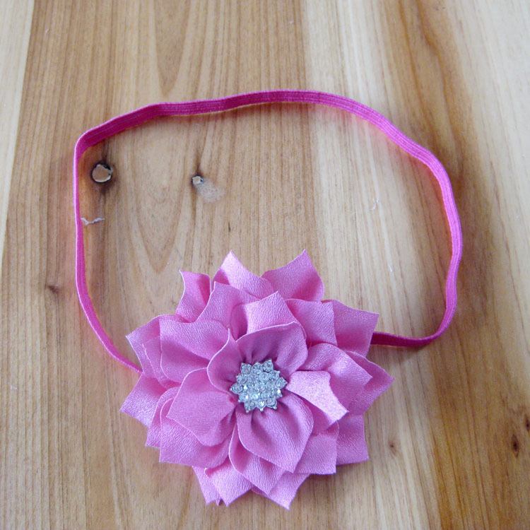 Multilayer Double Color Polygonal Fabric Flowers With Crystal Starburst Button on Thin Elastic Headbands 200pcs/lot(China (Mainland))