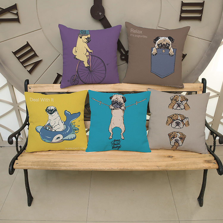 luxury home decoration outdoor Car sofa seat cushion cushions pillow Animals Pugs 45*45cm/17.7*17.7Wall Sticker pattern printing