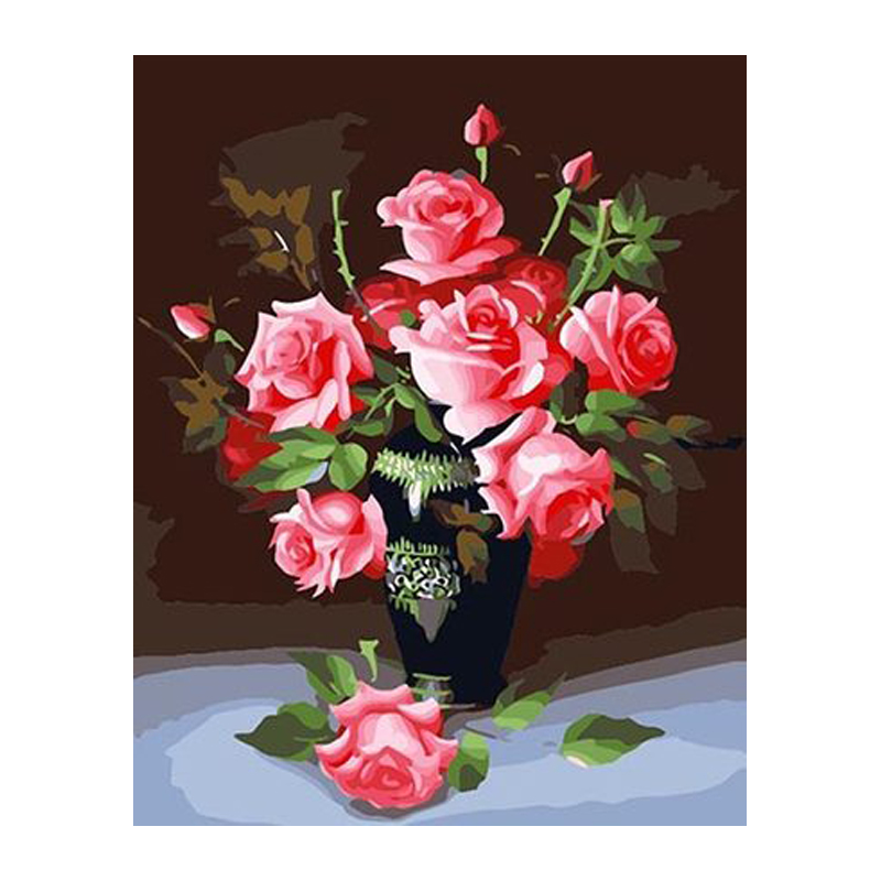 no frame wall decor diy painting by numbers hand painted canvas painting for living room 40*50cm rose flowers Modular picture(China (Mainland))