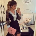 2016 New Fashion Women A line Dress Sexy Black Hollow Out Lace Dresses Casual Long Sleeve