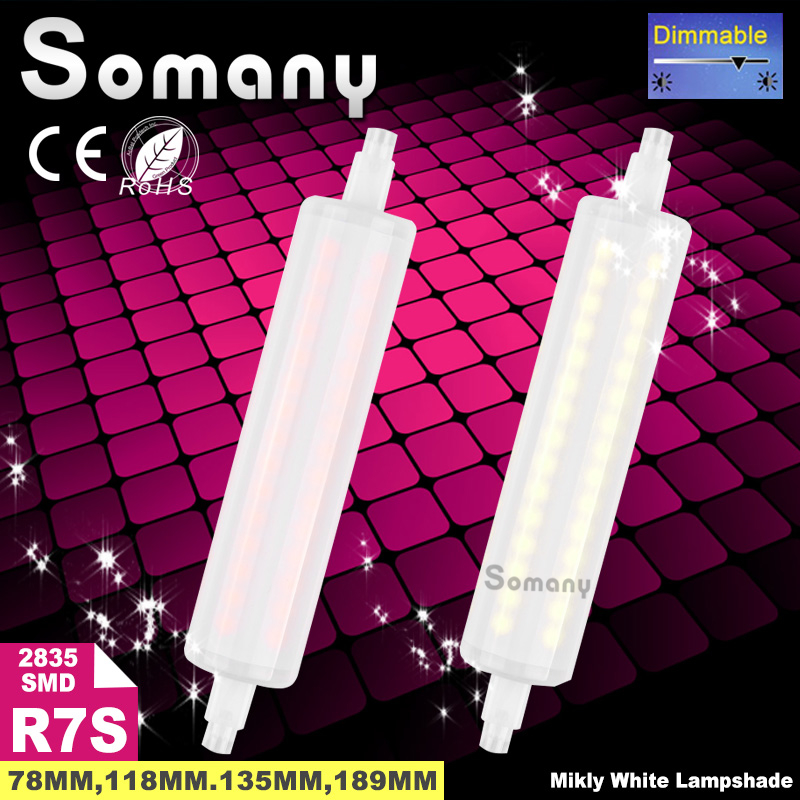 Dimmable Milky White R7S Dimmer Spot Light Bulb 5W-15W 78mm 118mm 135mm 189mm 110V 220V J78 J118 J135 J189 R7S for Halogen Lamp(China (Mainland))