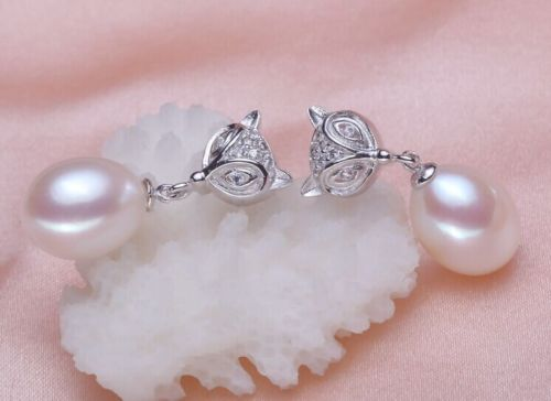 AAA 9-10 mm drop natural Australian white Freshwater pearl pearl earrings(China (Mainland))