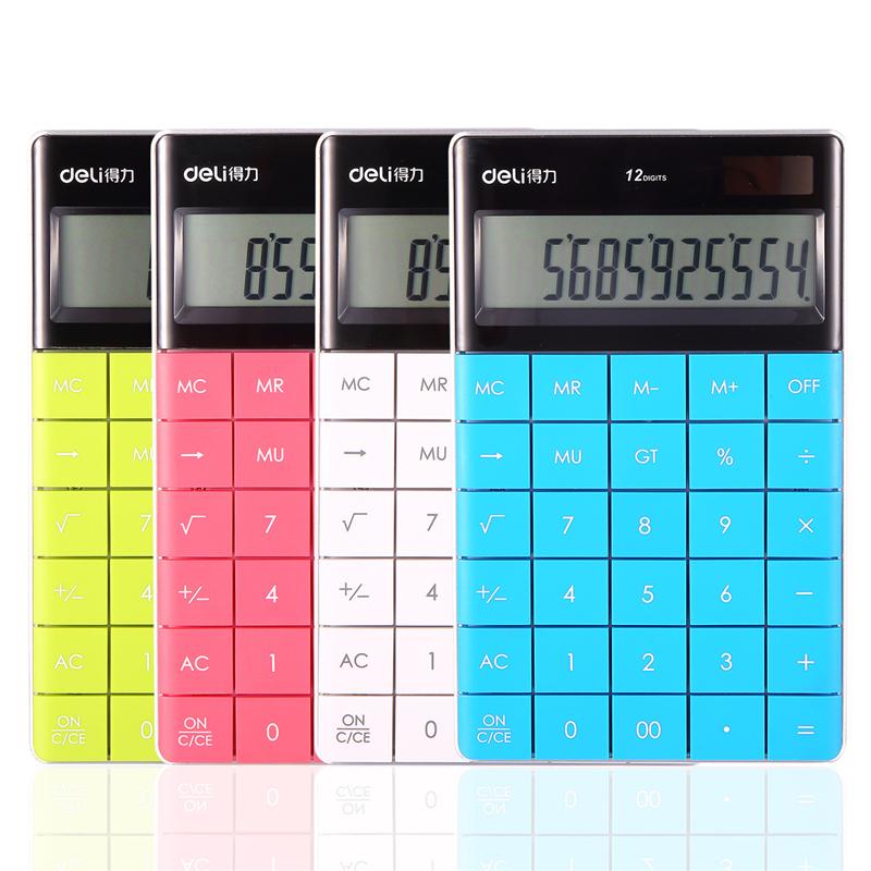 DELI calculadora Slim Portable mini 12 digital calculator Solar Energy Tablet buttons keyboard Dual power supply rekenmachine(China (Mainland))