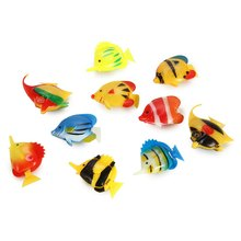 New Arrival Children's Toys Plastic Artificial Tropical Fishes Floating Moveable Decorations for Aquarium Fish Tank 10 Pieces(China (Mainland))