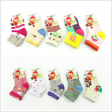 Cotton socks children boy girl cute cartoon socks stripe cotton 1-3 4-8 years old 9-12 years old(China (Mainland))