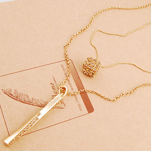 Myvatn magic cube double layer long necklace long design female tassel classic necklace