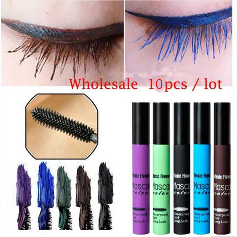 Wholesale 10Pcs Color Waterproof Eye Cosmetics Masacara Full Express Volume 3D Fiber Lash Lengthening Thick Eyelash Makeup Tools(China (Mainland))