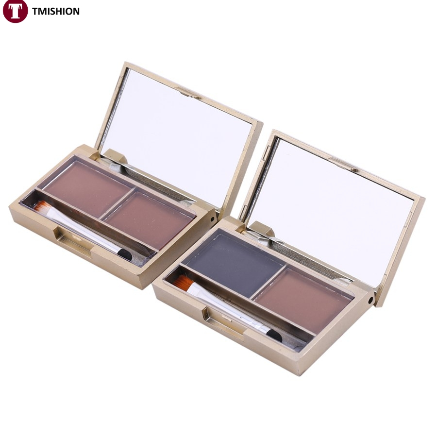 2016 New arrive Eye Shadow Eye Brow Makeup 2 Color Waterproof Eyebrow Cake Powder Palette + Brush Make Up Kit/Set Shaping Tools(China (Mainland))