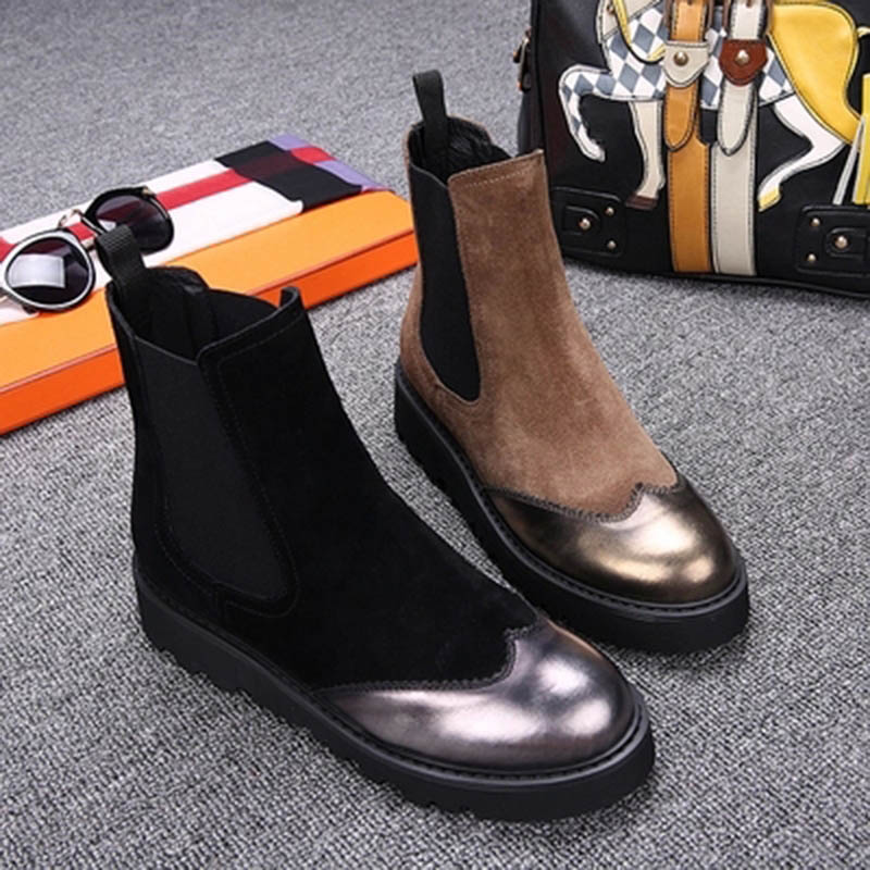 Stretch Suede Boots Winter Footwear Flat With Round Toe Brogue Faux Fur Patchwork Ankle Rubber Real Nubuck Leather Mixed Colors<br><br>Aliexpress