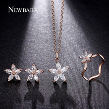 NEWBARK Cute Flower Jewelry Sets Fashion Rose Gold Plated Set Dainty 5pcs CZ Diamond With High Quality Gift For Women Bisuteria(China (Mainland))