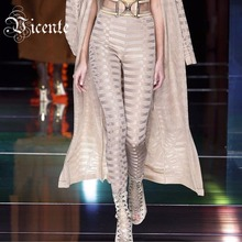 In Stock 2016 New Free Shipping Top Runway Fashion B*lmain  Geometric Stereo Jacquard Bandage Pants Leggings(China (Mainland))